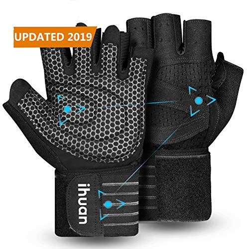 ihuan Professional Wrist Workout Gloves, Full Palm Protection and Better Ventilation Design, Great for Weight Lifting, Training, Fitness, Exercise, Hanging, Pull ups. Suits Men & Women (L) ()
