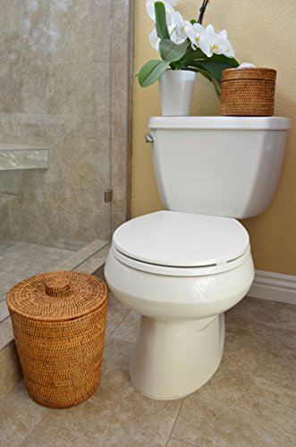 "KOUBOO 1030073 La Jolla Rattan Round Waste Basket with Plastic Insert & Lid, 9.5"" x 9.5"" x 12.5"", Honey Brown"