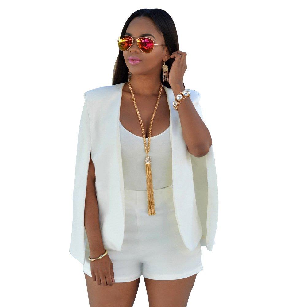 Women's Girl Casual Stylish Hip Hop Split Sleeve Short Blazer Jacket Coat Cape Cloak Party Clubwear (XL, white)