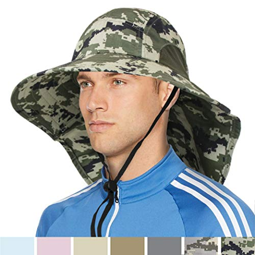 SUN CUBE Outdoor Wide Brim Sun Hat with Neck Cover Flap | Men, Women Summer Sun Protection Hat UPF 50+ for Hiking, Fishing, Gardening | Breathable, Foldable (Green Camo)