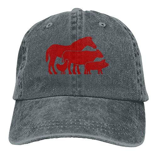 (Adjustable Denim Fabric Baseball Caps Farm Animals, Horse, Cow, Pig, Chicken Cap)