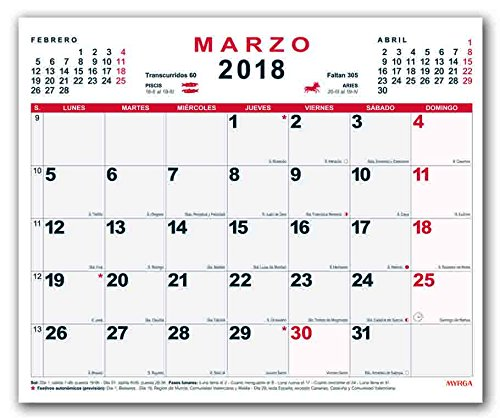 Calendario Spagnolo.Myrga Calendario Da Parete Del 2018 In Spagnolo 30x21 Cm