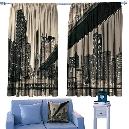 Mannwarehouse Polyester Curtain Queensboro Bridge NYC Night Art Prints New York City View Modern Bathroom Selection Urban Home Decor Ombre Gray Brown Noise Reducing 55