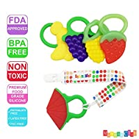 Mammas Club 5 Fruit Baby Teething Toys with Pacifier Clip/ Holder - Non-Toxic...