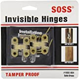 SOSS Mortise Mount Invisible Hinges with 4 Holes, Zinc, Satin Brass Finish, 1-1/2'' Leaf Height, 1/2'' Leaf Width, 19/32'' Leaf Thickness, #6 x 1'' Screw Size (1 Pair)