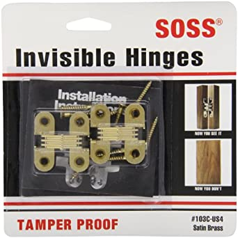 """SOSS Mortise Mount Invisible Hinges with 4 Holes, Zinc, Satin Brass Finish, 1-1/2"""" Leaf Height, 1/2"""" Leaf Width, 19/32"""" Leaf Thickness, #6 x 1"""" Screw Size (1 Pair)"""