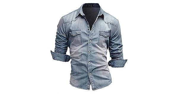 Jiayuan Camisa Vaquera Camisa Vaquera de algodón para Hombre ...