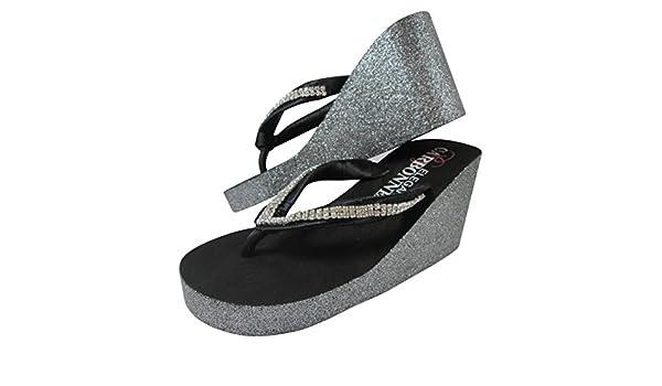 Amazon.com  Black   Silver Glitter Diamond Rhinestone Wedge Ivory or White Flip  Flops Sandals with Heel b7ad9421cf7f