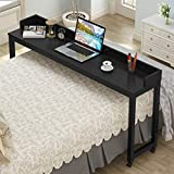Overbed Table with Wheels, Tribesigns 70.8'' Queen Size Mobile Desk with Heavy-Duty Metal Legs, Works as Pub Table, Counter Height Dining Table or Computer Table Desk, Super Sturdy and Stable