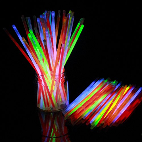 ROMIRUS 100 Count 8'' Glow Sticks - Comes With Connectors to Make Glow Sticks Bracelets and Necklaces,Bulk Neon Party Supplies, Good for Birthdays, Wedding, Hallonween, Concert(Assorted Colors) by ROMIRUS