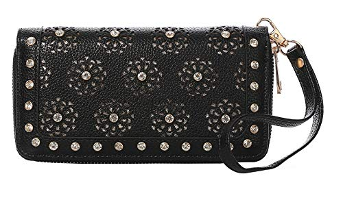 - Wristlet For Women Double Zip Around Wallets Rhinestone Perforated Snail Studs Cards Cellphone Pocket