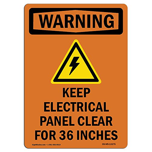 OSHA Warning Sign - Keep Electrical Panel with Symbol | Choose from: Aluminum, Rigid Plastic or Vinyl Label Decal | Protect Your Business, Construction Site, Warehouse & Shop Area |  Made in The USA