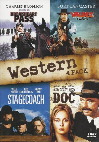 Westerns: 4 PACK MGM Films (Breakheart Pass / Valdez Is Coming / Doc! / Stagecoach) by Charles Bronson, Faye Dunaway Burt Lancaster by