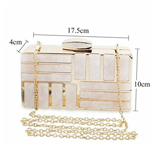 Ladies Women Handbags Evening Crossbody Chain Wedding Bag Box Clutch Bags White Acrylic Bag Fashion Stripes Marble Luxury g8xqTTS