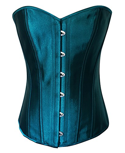 (Chicastic Teal Blue Satin Sexy Strong Boned Corset Lace Up Overbust Bustier Bodyshaper Top - X-Large)