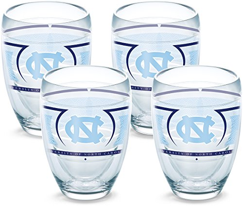 Tervis 1230241 North Carolina Tar Heels Reserve Insulated Tumbler with Wrap 4 Pack-Boxed, 9oz Stemless Wine Glass, Clear - North Carolina Wine