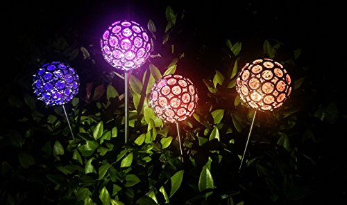Garden Decor Solar Outside Crystal Garden Lights - Set of 4 - Color Changing LED Stainless Steel Stake Lights - Sun Rechargeable Battery- Perfect for Yard, Garden, Patio & Outdoor Decoration, Gift (Grass Ideas Patio)