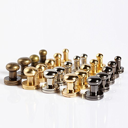 Pack of 20 Sets Brass Round Head Button Stud for Leathercraft Chicago Screws Nail Rivets