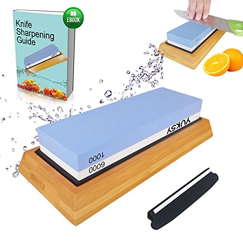 Premium Knife Sharpening Stone Kit, 2 Side 1000/6000 Grit Whetstone, Best Kitchen Blade Sharpener Stone, Non-Slip Bamboo Base & BONUS Angle Guide Included for Chef, Kitchen, Pocket Knife and Scissors (Sharpening Kit Whetstone)