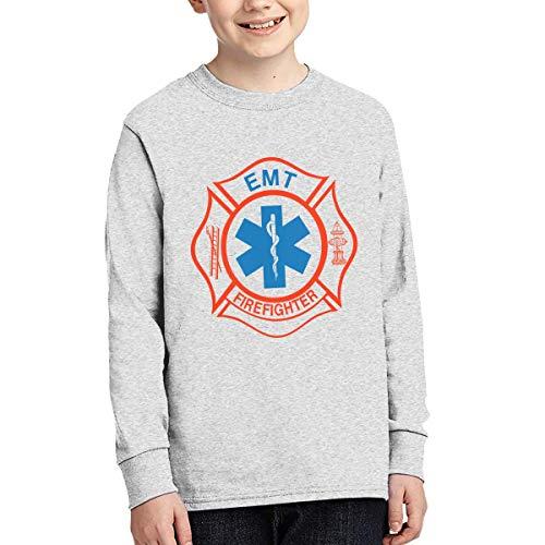 EMT Firefighter Maltese Cross Boy's Long-Sleeve Cotton T Shirt Tees
