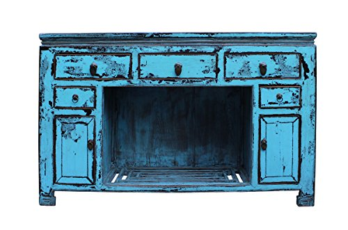 Oriental Distressed Rustic Blue Credenza Sideboard Buffet Table Cabinet Acs2346 (Sideboard Oriental)