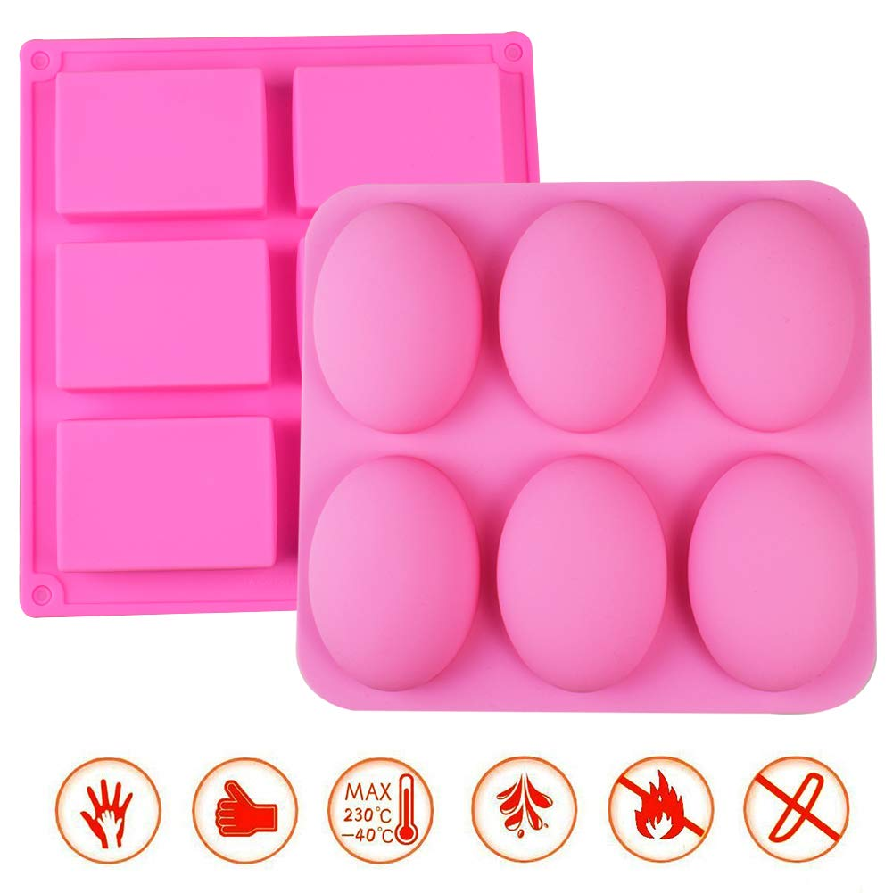 2 Pack Soap Molds Silicone DIY Handmade Soap Making Cupcake Baking Moulds Rectangle Oval Shaped