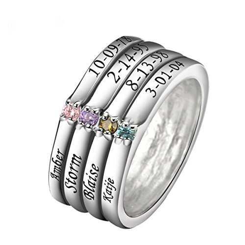 Quiges Silver Mother 4 CZ Birthstone Personalized Engraved 8 Names Family Stacking Band Custom Ring 7.25