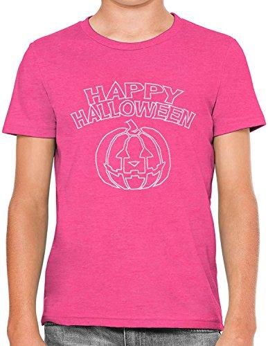 Happy Halloween Line Art Unisex Kids Hand Printed Short Sleeve T-Shirt, Berry Pink, Medium