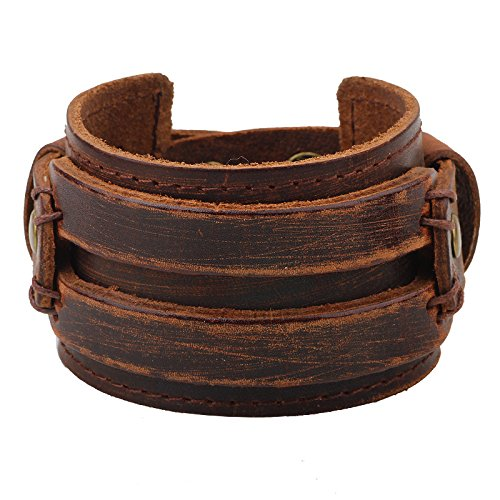 MORE FUN Fashion Good Matching Genuine Leather Wide Cuff Bracelet with Snap Button