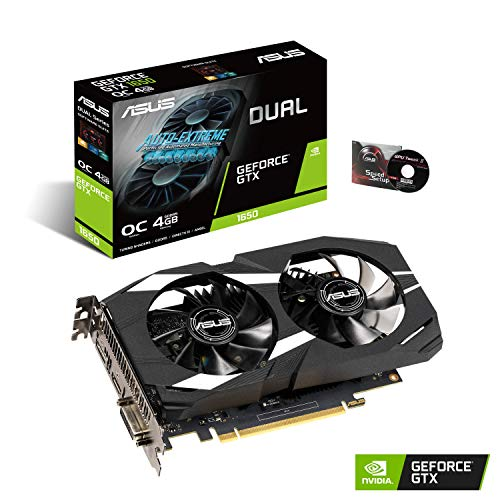 ASUS GeForce GTX 1650 Overclocked 4GB Dual-Fan Edition VR Ready HDMI DP 1.4 DVI Graphics Card (Dual-GTX1650-O4G)