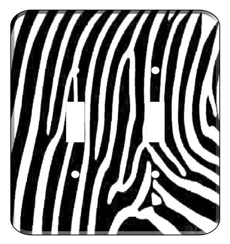 (Zebra Skin Print Decorative Double Toggle Light Switchplate Cover)