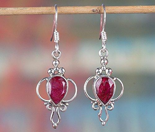 Ruby Earrings, 925 Sterling Silver, Baguette Ruby Earring, Engagement Earring, Birthstone Earring, Pear Shape Earring, Red Color Earring, Drop Dangle Earring, Anniversary Earring, Unique Stone Earring