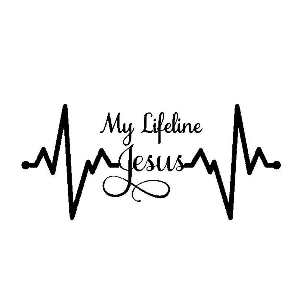 Heaven2017 My Lifeline Jesus Graph Sticker Christian God Religious Cute Car Styling Decal