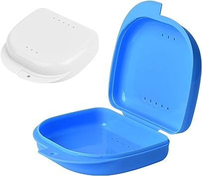 Y-Kelin 2 PCS Retenedor de ortodoncia Contenedor Retenedor Caja de dentadura parcial (Azul + blanco): Amazon.es: Salud y cuidado personal