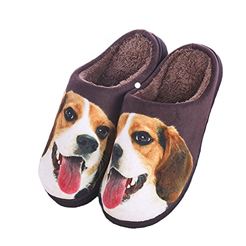 [Happy E-life Unisex Cute 3D Cartoon Pattern Winter Warm Thick Slippers Beagle 7.5/8] (Rabbit Costume Pattern)