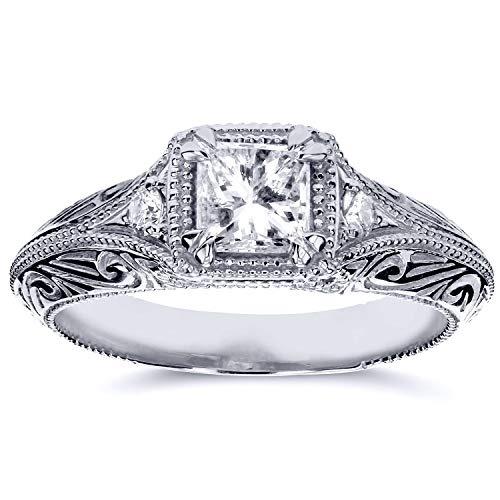 - Diamond Antique Filigree Engagement Ring 5/8 CTW in 14k White Gold, Size 4.5