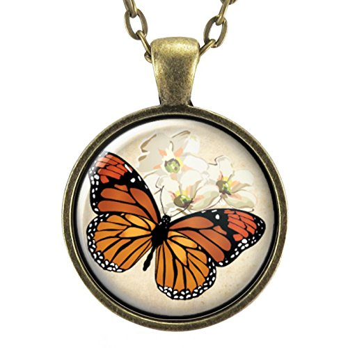 Orange Monarch Butterfly Necklace Pendant, Insect Jewelry