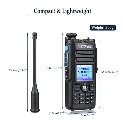 VETOMILE V-2017 Dual Band DMR Digital/Analog Two Way Radio 5W VHF 136-174MHZ & UHF 400-480MHz Walkie Talkie 3000 Channels IP67 Waterproof with GPS Function and Programming Cable by VETOMILE (Image #7)