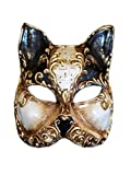 Venetian Half Face Cat Mask Gatto Arabesque for Women (Black)