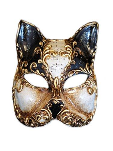 Venetian Half Face Cat Mask Gatto Arabesque for Women (Black) by Magic of Venezia