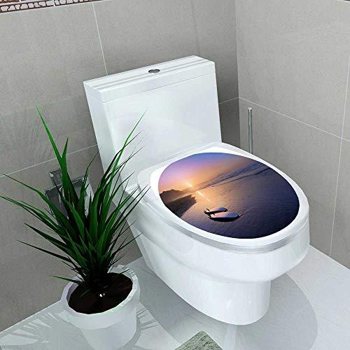 Auraise-home Toilet Seat Decal Vinyl Navy Blue Rope Lattice Geometric seaml ess pa ttern Decal Sticker for Toilet Decoration W15 x L17 ()
