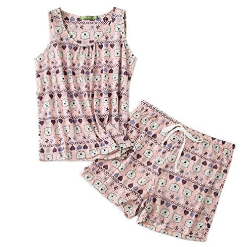 - ENJOYNIGHT Women's Cute Sleeveless Print Tee and Shorts Sleepwear Tank Top Pajama Set (X-Large, Bear)