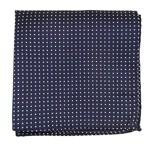 The Tie Bar 100% Woven Silk Navy Pindot Patterned Pocket Square ()
