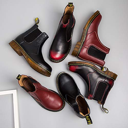 Boots Casual top Lovers De Red High Lovdram Summer Chelsea Martin Hombre Shoes Leather Men's Zapatos Thickening Cherry Tooling Para Short Black Fashion Cuero 5wa7YqOx1a