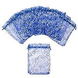 Aspire 200 Pieces Eyelash Organza Drawstring Pouches, 3 1/2'' x 4 3/4'' Royal Blue Jewelry Candy Bags