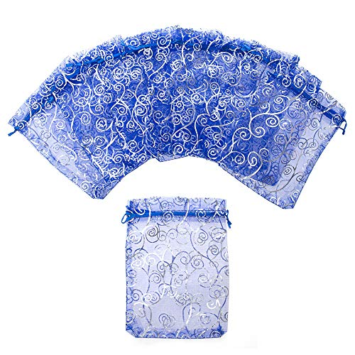 Aspire 200 Pieces Eyelash Organza Drawstring Pouches, 3 1/2'' x 4 3/4'' Royal Blue Jewelry Candy Bags by Aspire