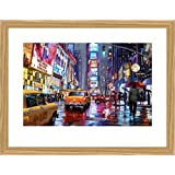 New York Poster Art Print and Frame (MDF) Oak - Times Square, Richard Macneil (32 x 24 inches)