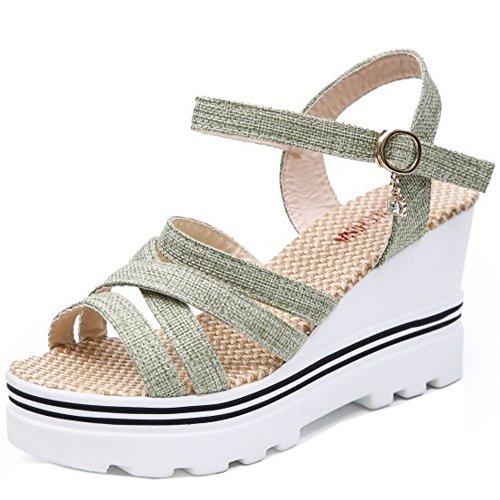 COOLCEPT Mujer Clasico Plataforma Tacon de Cuna Slingback Sandalias Al Tobillo Zapatos Verde