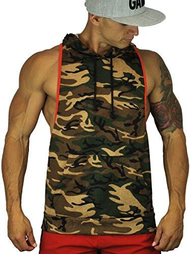 YoungLA Men's Bodybuilding Sleeveless Stringer Hoodie Contrast Pocket Tank Top (Medium, Camo)