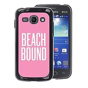 A-type Arte & diseño plástico duro Fundas Cover Cubre Hard Case Cover para Samsung Galaxy Ace 3 (Beach Bound Pink White Text Summer)